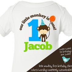 monkey first Birthday shirt -this little monkey jungle themed first birthday boy t shirt or onesie. $16.50, via Etsy.