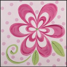 Flamingo Pink Bloom Imagination sqaure hand painted canvas art in grouping on wall