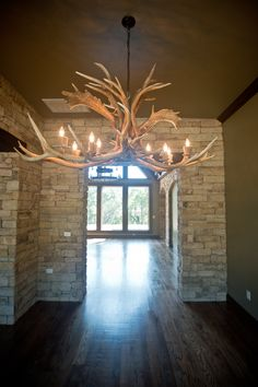 Beacon Homes: Antler chandelier Antler Chandelier, Beacon Lighting, Unique Lighting, Light Fixtures, Building A House, New Homes, Ceiling Lights, Home Decor, Decoration Home