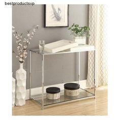 #Ebay #Glass #Chrome #Console #Table #White #Modern #Urban #Decor #Trays #Steel #Shelf #Design #Bar #ConvenienceConcepts #Modern