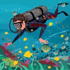 Buy Man Studying Marine Life by Ari-s on GraphicRiver. Man diver in wetsuit and with scuba exploring coral reef – Underwater world or scuba diving concept Scuba Diving Mask, Diving Helmet, Underwater Drawing, Underwater World, Dove Drawing, Diving Regulator, Mandala Design, Marine Life, Digital Illustration