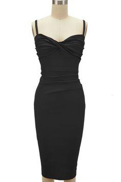 miss betty doll twisted bust wiggle dress - black, $43