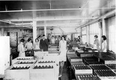 Interior view of the Andrew Jergens Company soap factory located at Verdugo Avenue and the Southern Pacific Railroad tracks, circa 1920s. In 1882, Jergens began with a single product, coconut oil soap, specially formulated to perform in hard water. Burbank Historical Society. San Fernando Valley History Digital Library.