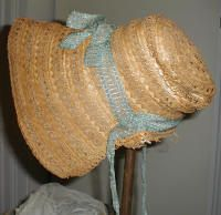 http://www.greencastlemuseum.org 1820-1840 straw bonnet with original blue gauze ribbon trim