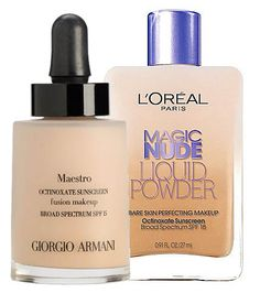 Giorgio Armani Maestro Fusion Makeup ($62) vs. L'Oreal Magic Nude Liquid Powder ($12). Save $50 and read this DUPE. -- Bought the L'Oreal product and I don't know if it's really a dupe, but it is very good. It's my new favorite drugstore foundation.