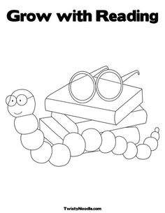 Book Worm Coloring Page Library
