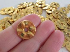 Gold Wavy Hammered Spacers  Gold Disc Rondelle  by BijiBijoux