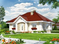 Dom w lotosach 2 Modern Bungalow House, Bungalow House Plans, Dream House Plans, House Paint Exterior, Exterior House Colors, Red Roof House, Triangle House, Duplex Design, Beautiful House Plans