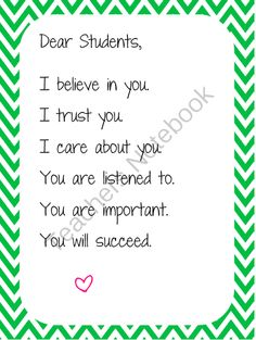 this is a letter for parents of your students in the beginning of