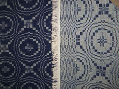 Early Civil War Blue and Cream Antique Primitive Coverlet Cutter Panel w Fringe Weavers Cloth, Types Of Weaving, Weaving Textiles, Love Blue, Fiber Art, Indigo, Hand Weaving, Family Trees, Primitive Decor