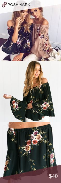 Young & Restless Floral Off Shoulder Top {Green} DETAILS  Mura Boutique Black and floral print Off shoulder style Long, large sleeves Slip on wear Not lined Cotton / Polyester  MODEL INFORMATION Model: Belle  Dress Size: 8 (AU) Height: 173cm Bust: 85cm Waist: 56cm Hips: 86cm Shoe: Size 8 Boutique Tops Blouses