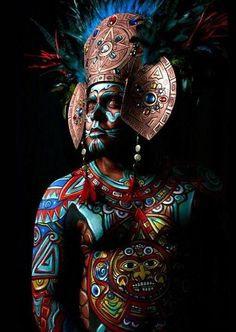 "neomexicanismos: "" Tonatiuh "" Source: Lymari Millot - Make Up & Body Paint Artist - Los Angeles Because that's the proper way. Religions Du Monde, Cultures Du Monde, World Cultures, We Are The World, People Of The World, Aztecas Art, Arte Tribal, Aztec Warrior, Mexican Art"