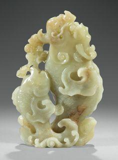 A CARVED YELLOW 'DRAGON-CARP' VASE, CHINA, QING DYNASTY, QIANLONG PERIOD (1736-1795)