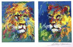 """For Sale on - Leroy Neiman """"Lion and Lioness"""" Exotic Animal Hand Signed/# serigraph, Screen Print by LeRoy Neiman. Offered by Art Connection."""