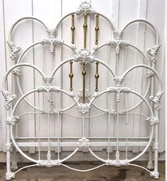 -Old Fashioned Metal Beds Cast Iron Bed Frame, Wrought Iron Bed Frames, Wrought Iron Headboard, Old Bed Frames, Cast Iron Beds, White Headboard, Shabby Chic Iron Bed, Shabby Chic Bed Frame, Victorian Bed Frames