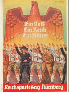 "German  WW2 . Says : "" One People , One Reich , One Leader . Reich Party Day Nurnberg "" . ca. 1932 ..."