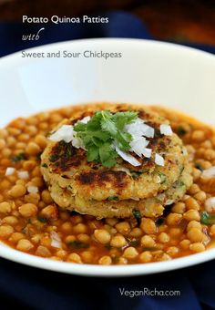 Potato Quinoa Patties with Chickpea curry. Tikki Chole. Vegan Recipe | Vegan Richa