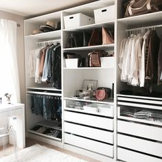 Some of you may have seen the photo I shared on Instagram a couple weeks ago, but for those of you who didn't, my closet is nearly done and I'm sharing a sneak peek today! This is my first time having my closet separate from my office, so you can imagine, I had some grand ideas. The room is small, so there were challenges, but everything came out beautifully and I'm still in awe of it every time I pass by. On top of the Ikea Pax System, I have a regular closet on one wall (we took the doors…