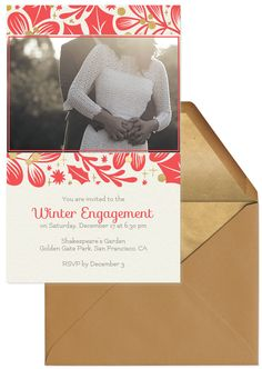 Ring in a new engagement with a celebratory announcement party, and start by sending word through Evite's paperless engagement party invitations. From casual barbeques to more formal dinners, your gathering is made special with our beautiful handcrafted designs.