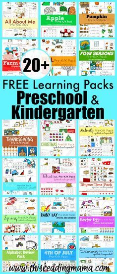 Learning Packs for Preschool and Kindergarten Love these FREE learning packs from This Reading Mama! Now all in one place - so convenient!Love these FREE learning packs from This Reading Mama! Now all in one place - so convenient! Free Preschool, Preschool Themes, Preschool Printables, Preschool Lessons, Preschool Classroom, Preschool At Home, Preschool Curriculum Free, Baby Activities, Pre K Homeschool Curriculum