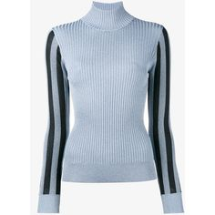House Of Holland Metallic Ribbed Turtle Neck Jumper ($250) ❤ liked on Polyvore featuring tops, sweaters, blue turtleneck sweater, ribbed sweater, striped turtleneck sweater, long sleeve jumper and blue striped sweater