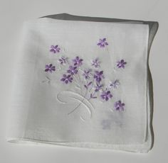 Vintage cotton hankie handkerchief hanky with by FeliceSereno, $3.00