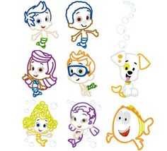 Bubble Guppies Outlines!  I could print these out on freezer paper and stencil with colored candy melts!!!  Cool in fridge and delicately peel off to arrange on cake!