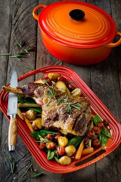 Spring Lamb & Vegetable Platter // Le Creuset Oval Casserole, Large Barbecue Platter