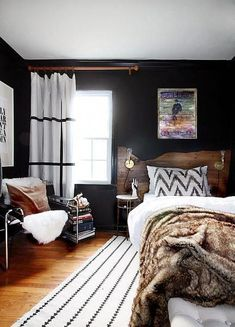 Cool Masculine Bedroom for Mens Black Wall Decor and White Rug and Curtain (Cool Bedrooms For Men) Modern Rustic Bedrooms, Farmhouse Master Bedroom, Trendy Bedroom, Rustic Modern, Bedroom Rustic, Contemporary Bedroom, Rustic Style, Rustic Chic, Masculine Bedrooms