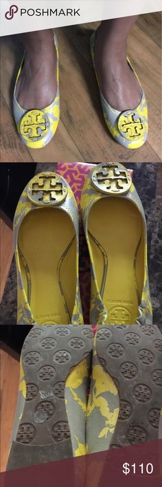 Tory butch reva flat Fun summer flats in yellow & gray print size 7 worn 2 times. In great shape, no box Tory Burch Shoes Flats & Loafers
