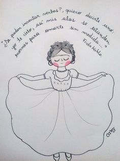 Resultado de imagen para frida kahlo tumblr Frida And Diego, Hispanic Heritage Month, Think Happy Thoughts, This Is Love, Doll Patterns, Traditional Art, Cool Words, Art Sketches, Coloring Books