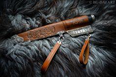 VIKING SLAVIC knife pattern welded steel blade, silver fittings, gemstone