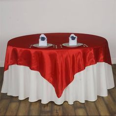 x Red Seamless Satin Square Tablecloth Overlay Burlap Table Runners, Lace Table, Patriotic Decorations, Flower Decorations, Wedding Decorations, Holiday Decorations, Satin Roses, Red Satin, Red Wedding