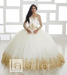 The bodysuit has full length sleeves finely adorned by embroidered lace and beadwork. (two-piece) LA Glitter Collection Dress 24020 Colors: Ivory/Gold Sweet 15 Dresses, White Bridal Dresses, Pretty Prom Dresses, Wedding Dresses, Disney Princess Dresses, Princess Ball Gowns, Mexican Quinceanera Dresses, Quinceanera Ideas, Quince Dresses