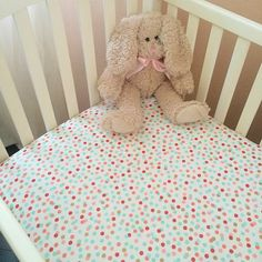 Coral mint and gold confetti fitted crib sheet / by LoveAndCountry