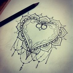 Explore Heart Tattoo Design Zentangle Heart and more! Kunst Tattoos, Neue Tattoos, Tattoo Drawings, Henna Designs, Tattoo Designs, Tattoo Ideas, Tattoo Painting, Mandalas Drawing, Zentangles