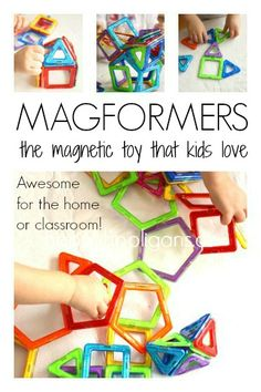 Magformers Magnetic Building Toy for Kids - Teachers and Parents alike claim it's one of their top toys for the playroom, daycare and classroom.  Magnetic shapes that magically snap together.  Great for critical thinking, deductive reasoning, scientific and mathematical thinking and creativity! - Happy Hooligans