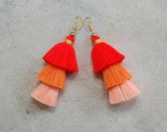Handmade Three Tier Orange Ombre Tassel Earrings