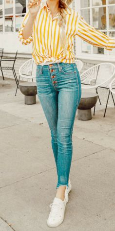 Yellow and white striped top, high waist blue jeans, white gold star sneakers. Fashion Bloggers, Fashion Style, Sheridan Gregory {I like the sunny happy look to this}