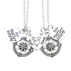 """O.RIYA Best Friends No Matter Where Compass Necklaces Bracelet Set Heart , Best Friend Necklaces 2 Piece for Teens Half Broken Heart Necklace Bracelet,Two Piece Double Necklace BraceletSet. Best Friend Necklaces 2 Piece for Teens Half Broken Heart Necklace. Rectangle Pendant Size: """"no matter where """" pendant size :about 6/8. You will receive TWO NECKLACES hand stamped with the words 'NO MATTER WHERE' along with a silver color compass charm and silver color mother / daughter half heart ; With…"""