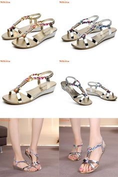[Visit to Buy] High quality Summer Rhinestone Women Flat Sandals for Women Fashion Casual Sandals Comfortable Beach Shoes #Advertisement