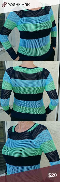 """525 America Sweater sz. S Bold Stripes Feminine, but sporty crocheted sweater by 525 America in 3"""" stripes of light blue, navy & green.  •Sz. S (picture is on a Med-Large frame, so would be looser on a smaller frame) If on a small frame it would have a modern oversized look. •100% Rayon •Hand wash •22"""" label to bottom •16"""" across bust, pit to pit •Non-smoking home.  •Previously loved, in like new condition. 525 America Sweaters Crew & Scoop Necks"""