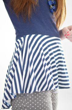 Tee shirt to peplum refashion...I would do a dress.