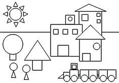 Shapes Worksheets, Preschool Worksheets, Preschool Activities, Coloring Worksheets, Planet Coloring Pages, Shape Coloring Pages, Coloring Sheets, Art Drawings For Kids, Drawing For Kids