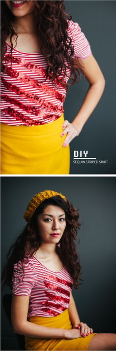 DIY: sequin striped shirt