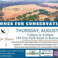 """So excited to share our #dronesforconservation story at this event.  We may also be providing some live aerial tours to give participants a literal """"bird's eye view"""" of the beautiful Cibolo Nature Center & Farm! #aerialfilming #buydrones #flydrones #droneblog #dronestagram #dronefly"""