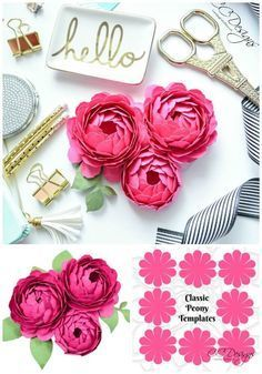 Best 11 DIY paper peonies with free printable template. [how to make paper flowers, DIY paper flower template, easy paper flower tutorial, paper craft] – Artofit Paper Flowers Craft, Giant Paper Flowers, Flower Crafts, Diy Flowers, Fabric Flowers, Flower Paper, Peony Flower, Paper Flowers For Wedding, How To Make Paper Flowers
