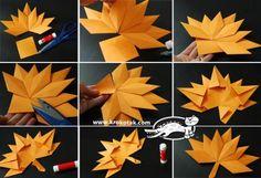 Kako biste napravili ovo zanimljivo i veselo jesenje lišće, potrebno je da pronađete origami papir u jesenjim bojama. #diy #autumn #leaves #origami