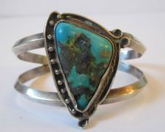 Mid Century Navajo Sterling Silver Turquoise Pawn Native American Cuff Bracelet | eBay