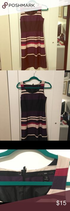 Gorgeous H&M Sundress- Perfect for Work! H&M purple sleeveless sundress, size 6, fully lined. Dress has black, pink, and beige stripes (see photos)- a very classic, Hepburn-Edwin silhouette and style. Pair with classic black pumps for a great office-to-drinks look, or with a cardigan for church or back to school. Like new condition, but was just a little too small for me! H&M Dresses